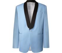 Light-blue Oversized Satin-trimmed Wool Tuxedo Jacket - Light blue