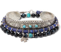 Set of Three Sterling Silver, Turquoise, Tiger's Eye and Lapis Heishi Bracelets