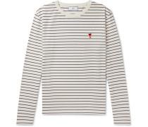 Striped Logo-Appliquéd Cotton-Jersey T-Shirt