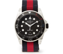 Gucci Dive Stainless Steel And Webbing Watch - Black