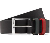 3cm Black Textured-leather Belt - Black