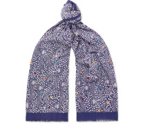 Embroidered Printed Cotton-voile Scarf - Navy