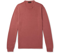 Slim-fit Linen And Cotton-blend Sweater - Red