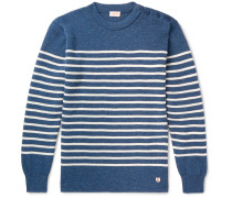 Molene Slim-Fit Button-Embellished Striped Wool Sweater