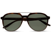 Bulgar Aviator-style Tortoiseshell Acetate And Silver-tone Sunglasses