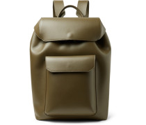 Leather Backpack - Army green