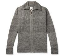 Fisherman Mélange Wool Zip-up Cardigan - Gray