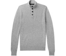 Slim-fit Suede-trimmed Mélange Cashmere Sweater