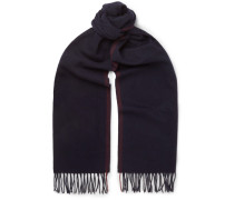 Fringed Cashmere Scarf - Midnight blue