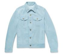 Suede Unlined Trucker Jacket - Sky blue