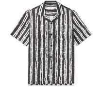 Camp-collar Printed Woven Shirt - Black