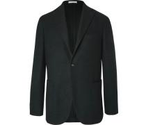 Black Unstructured Wool, Cotton And Cashmere-blend Hopsack Blazer - Black