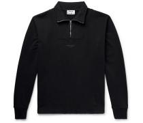 Faraz Logo-print Loopback Cotton-jersey Half-zip Sweatshirt - Black