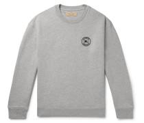 Logo-embroidered Fleece-back Cotton-blend Jersey Sweatshirt - Gray