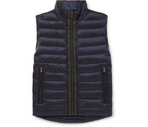 Reversible Grosgrain-trimmed Quilted Shell Down Gilet - Navy