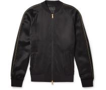 Crystal-embellished Satin Bomber Jacket - Black