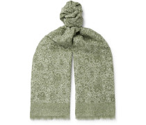 Fringed Paisley-print Cotton And Linen-blend Scarf - Green