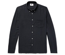 Falk Slim-fit Button-down Collar Checked Cotton And Wool-blend Shirt - Navy