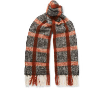 Fringed Checked Textured-knit Scarf