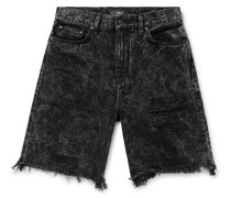 Thrasher Distressed Acid-wash Denim Shorts - Black