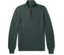 Suede Elbow-patch Cashmere Half-zip Sweater