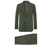 Olive Slim-fit Stretch Cotton And Linen-blend Suit - Green