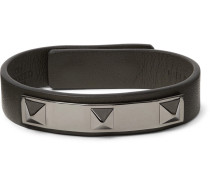 Valentino Garavani Rockstud Leather And Ruthenium-tone Bracelet