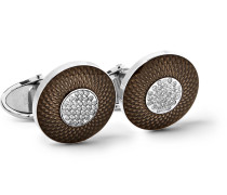 Sterling Silver, Enamel And Diamond Cufflinks - Silver