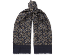 Fringed Floral-print Cashmere And Wool-blend Scarf