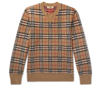 Checked Brushed-cashmere Sweater - Camel