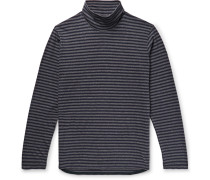 Striped Cotton-jersey Rollneck T-shirt - Navy
