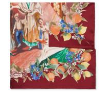 Printed Silk-twill Pocket Square - Burgundy
