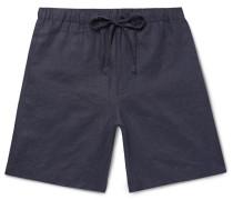 Linen Drawstring Shorts - Storm blue
