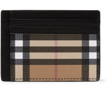 Leather And Checked Coated Canvas Cardholder - Black