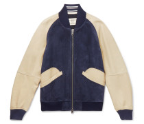 Suede And Leather Bomber Jacket