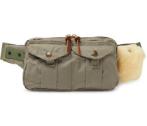 Fishing Shearling-trimmed Cotton-canvas Belt Bag - Green