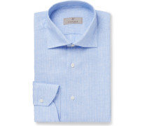 Blue Striped Linen Shirt - Blue