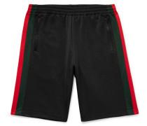 Wide-leg Webbing-trimmed Jersey Shorts - Black