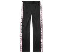 Rubber-appliquéd Fleece-back Satin-jersey Trousers
