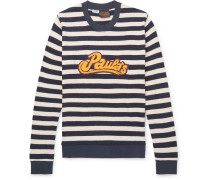 + Paula's Ibiza Logo-appliquéd Striped Cotton Sweatshirt - Storm blue