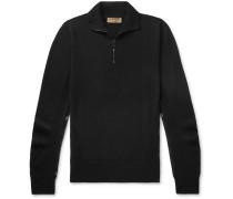 Slim-fit Check-trimmed Merino Wool Half-zip Sweater - Black