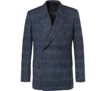 Harry's Navy Double-breasted Checked Wool-blend Blazer