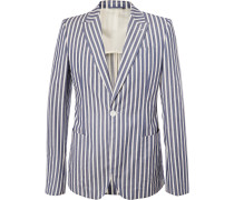 Blue Slim-fit Striped Cotton Blazer