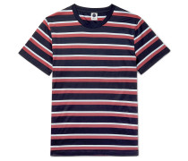 Striped Mercerised Cotton-jersey T-shirt - Navy