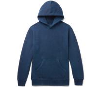 Fleece-back Cotton-jersey Hoodie - Indigo