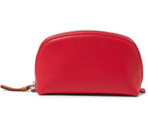 Printed Leather Pouch - Red