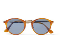 Round-frame Tortoisehell Acetate And Silver-tone Sunglasses