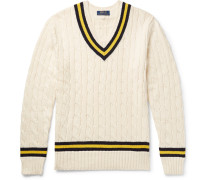 Striped Cable-knit Cotton And Cashmere-blend Sweater - Cream