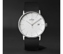 Form A 40mm Automatic Stainless Steel And Leather Watch - White