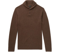 Shawl-collar Merino Wool-blend Sweater - Brown